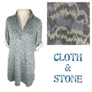 Cloth & Stone Green/Blue Ikat Chambray Tunic Dress